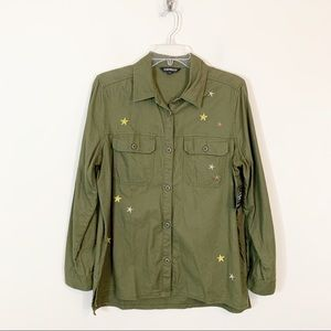 Express • Military Green Embroidered Star Shirt